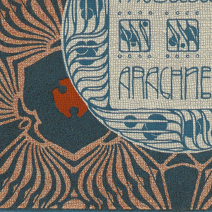 Berry vine motif in turquoise in circular text block, lower right: MOBELBEZUG / ARACHNE. Repeating fantastic organic pattern in turquoise and orange. Verso:  Title of portfolio in gray in text block, upper left.  Rows of three-leaf motif in alternating directions.