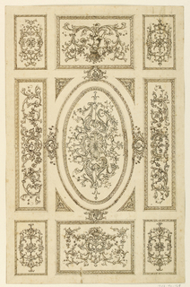 Drawing, Ceiling Design, ca. 1750
