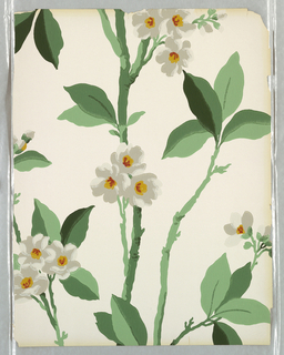 Floral and foliate design, printed in red, white and greens on white ground.