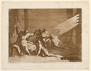 The count raises his hands, helplessly. The younger grandson kneels before his grandfather praying  for food. The group of the three other boys in the central rear. At right, a skull under a beam of light entering through a window.