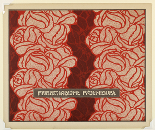 Two vertical rose garlands in red and pink with maroon and red leaf pattern between. Text block in gray on cream across lower center; cream text: FARBSCHABLONE ROSENLAUBE. Verso:  Title of portfolio in gray in text block, upper left.  Abstract leaf pattern in alternating directions in gray on cream.