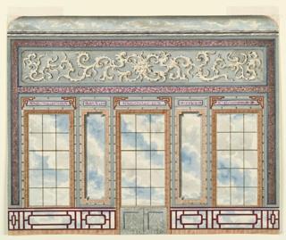 Drawing, Entrance Hall, West Wall, Royal Pavilion, Brighton