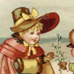 One of eleven miscellaneous cards without designation of origin. This one depicts a winter scene with a house in the background. In the foreground, a boy offers a girl a branch of mistletoe.