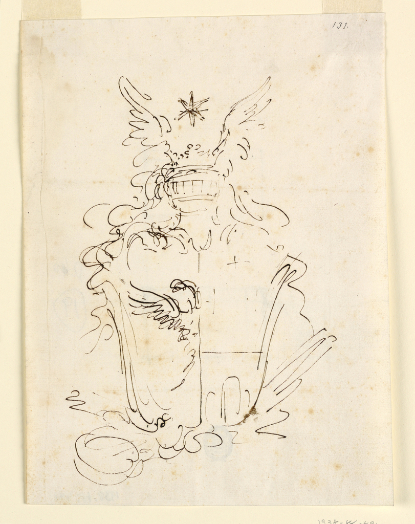 Vertical rectangle. At right, the dexter half with two-headed eagle; at left, the sinister half, per fesse three crosses and three mounts. Helmet of a count with wings and star above. Verso: three slight sketches, seemingly architectural.