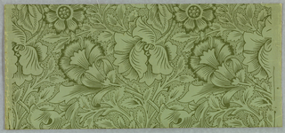 Incomplete repeat of all-over pattern of large-scale poppy flowers with foliage. Printed in dark green on lighter green ground. White flowers and ground with green shading and stipling