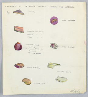 9  color drawings on a single sheet of paper: images of  various hors d'oeuvres (caviar, upper left; baby sausage, upper right; sardine on toast;  stuffed olive;  celery chip at lower right, etc.