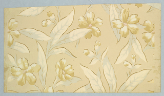 Dark cream ground with leaf and flower design in white, tan and blue-gray. Mica finish.