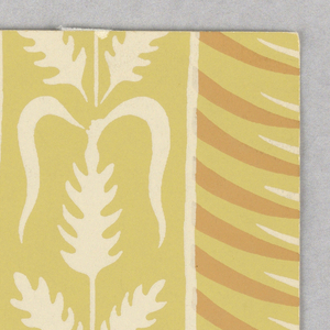 """a) Against a yellow ground is a central vertical band printed in orange and white to simulate a half column in relief. On either side, printed in off-white, are vertical bands of stylized wheat. b) Same as """"a"""", except for darker value of orange."""