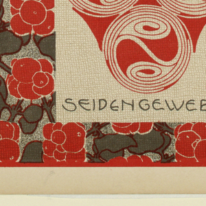 Three yin yang-like circles in red in text box, lower center: ROTHEBEEREN / SEIDEN GEWEBE.  Alternating red berry clusters and gray leaves. Verso:  Title of portfolio in gray in text box upper left.  Abstract animal/geometric motif in gray on cream.