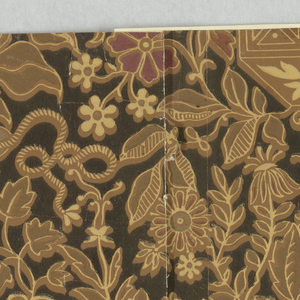 Horizontal rectangle giving a complete width. Design of Chinese inspiration, with plants springing from vases and forming foliate arabesques set with scrolled ribbons and flowers, printed on black ground.