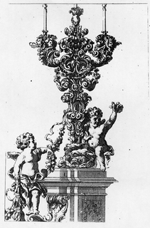 Print, Design for a Candelabra Complete with Pedestal, late 17th–early 18th century