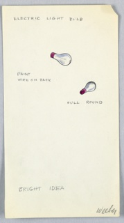2 drawings on a single sheet of paper: two electric light bulbs (drawn in color), with annotations..