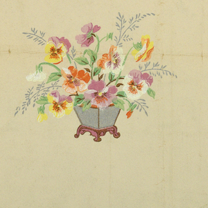 Clusters of pansies in vases in horizontal rows with pansies thinly scattered between, printed on cream ground.