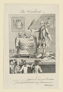 In this caricature, a man demonstrates how a waistcoat can fit around a group of much smaller men. In the background on the left is a picture of the men being wrapped in the waistcoat, and on the right is a picture of a very large man wearing it.