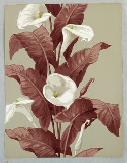 Floral stripe design with white lilies and deep red or purple foliage, printed on gray ground.