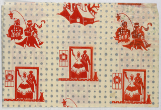 Red and silver pattern in a white ground showing poke dots, carolers with trumpet, accordion and lantern, a snow-covered house, and figures in a doorway.