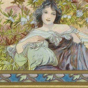 Reclining female figure with dark hair, in purple dress, posing in landscape. Ornamental blue frame.