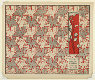 Pattern of geometrically-designed birds in gray and red outline. Stylized profile of a woman in red cloak in vertical box at center right, with smaller text block below, text in gray: DIE / TAUSEND / RABEN / VORSATZ / PAPIER. Verso: Title of portfolio in gray, upper left.  Horizontal bands of flowers with vertical wavey lines in gray on cream.