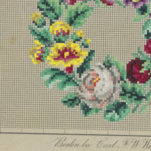 Design on graph paper for Berlin wool work, a wreath of red and white roses and other flowers.
