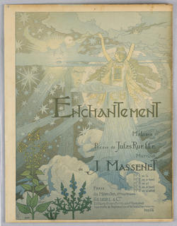 """Crowned goddess/fairy-like figure on the right amid a cloudy and starry sky. """"ENCHANTEMENT"""" written across center of sheet."""