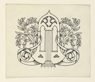 A motif composed of a lyre and branches of leaves, arranged in a symmetrical design.