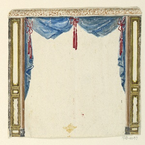 Horizontal rectangle. Design for the Royal Pavilion, Brighton. Design of a drapery for a recess opening. Drapery in blue caught at the center and upper corners with red bows and tassels. The central space is spanned by curtains, lacking central supports.  Original album associated with this collection still exists.  See 1948-40-1 accessory