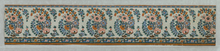 Horizontal rectangle. Border paper with eight units of a floral design suggestive of Indian embroidery. Narrow figured band across top of paper, and wider figured band across bottom.