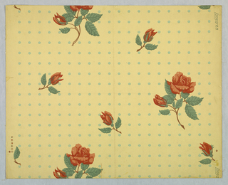 Design of rose spray with flower and bud alternating with bud spray in diagonal lines; ground covered with dots arranged in vertical and horizontal lines. Printed in green, reddish brown on pale yellow ground.