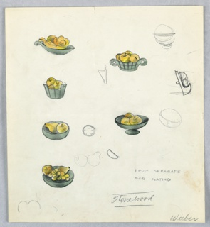 6  color drawings and additional graphite sketches on a single sheet of paper:  fruit arranged in variously-shaped bowls.