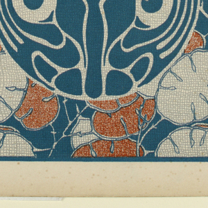 Text in turquoise in rectangle upper right: BEDRUCKTER STOFF / SILVANUS. Turquoise stylized bird/cat creature in circle, lower right.  Abstract orange and cream leaf pattern with turqoise between. Verso:  Title of portfolio in gray in text box upper left.  Pattern of vertical rinceaux-like vines in gray on cream.