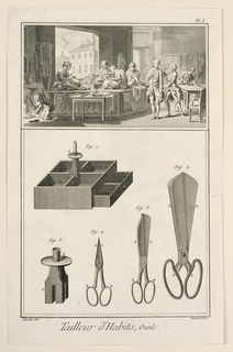 Drawing divided into two registers. On top, a view of a tailor shop. On far left bottom, a man crouched under a table irons clothing. Seated on a table, four women sew clothing. At right, a tailor takes a man's measurements. Far right, a man cuts fabric. In the bottom register, depictions of the tools used by tailors, all given figure labels.