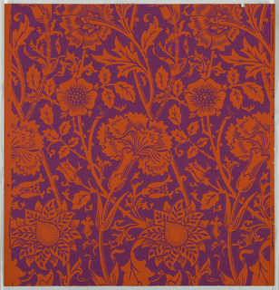 """""""Pink and Rose"""" pattern; a,b: printed in purple on orange. Sample number stamped on verso: 138680; c/i: printed in turquoise on gold. Sample number stamped on verso: 138700; j/l: printed in white on white. Sample number stamped on verso: 134990; m/q: printed in burgundy on tan. Sample number stamped on verso: 138690."""