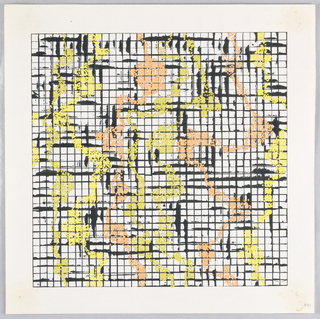 Square grid with overlay of splashed yellow and orange.