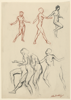 Studies of female nudes, including full and partial figures, in a variety of poses and states of motion. The figures on the upper center and upper left are rendered in reddish-brown, and the upper right and bottom figures are in black.