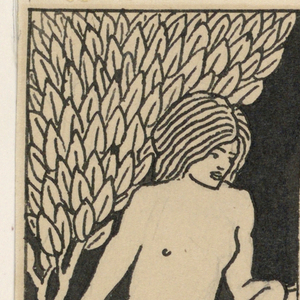 A nude youth leans against a fountain on the right. A stylized tree appears at left behind him. The oval-shaped forms on the bottom of the fountain bowl resemble the leaves of the tree. Flames emerge from the base of the fountain. A blank square, intended for the insertion of the chapter title, appears in the top right corner.