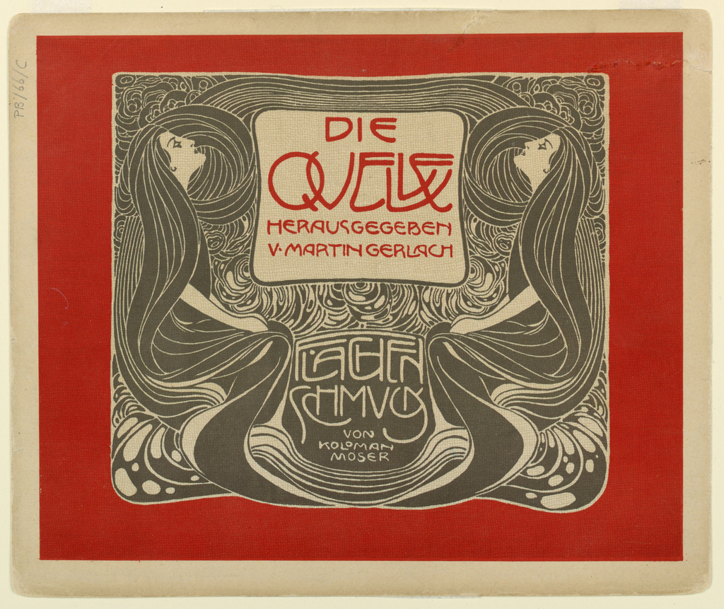 Text in red: Die / Quelle / Herausgegeben / v. Martin Gerlach; in white on black ground: FLACHEN / SCHMUCK / VON / KOLOMAN / MOSER. Black and white depiction of two women standing in profile with long hair intertwined on either side of text block. All framed by red border. Verso: Title of portfolio in gray in text block, upper left.  Abstract leaves with circular stems in gray.