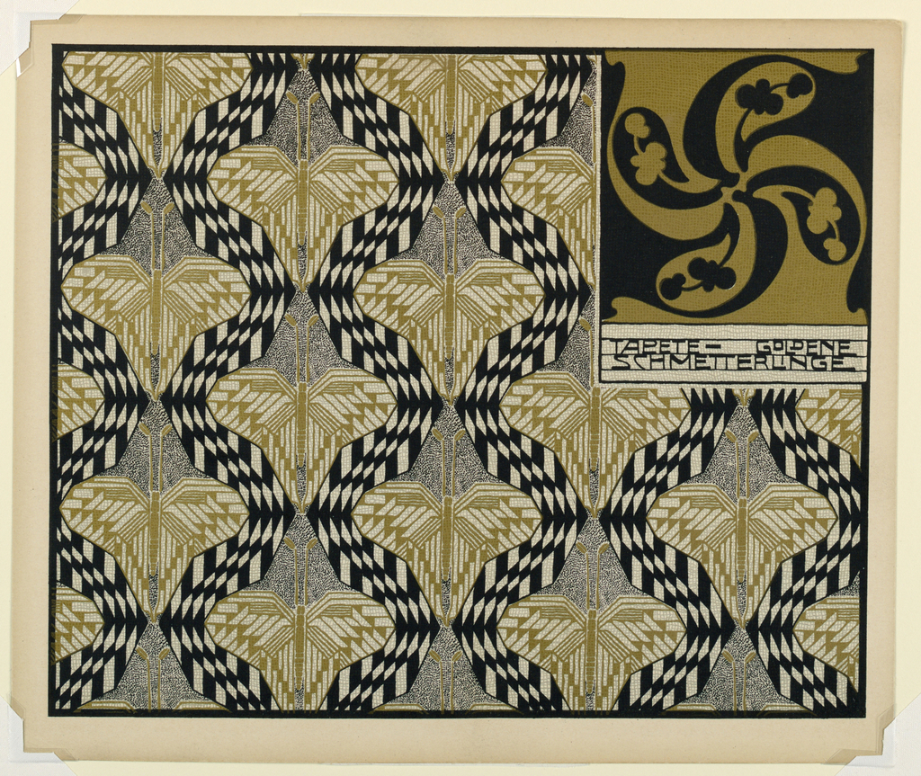 Vertical design of abstract butterflies in gold and black alternating with black and white undulating checked pattern. Swirling pin-wheel design in black and gold in text block, upper right: TAPETE-GOLDENE / SCHMETTERLINGE. Verso: Title of portfolio in gray text block upper left.  Pattern of squares of tilted squares in gray on cream.