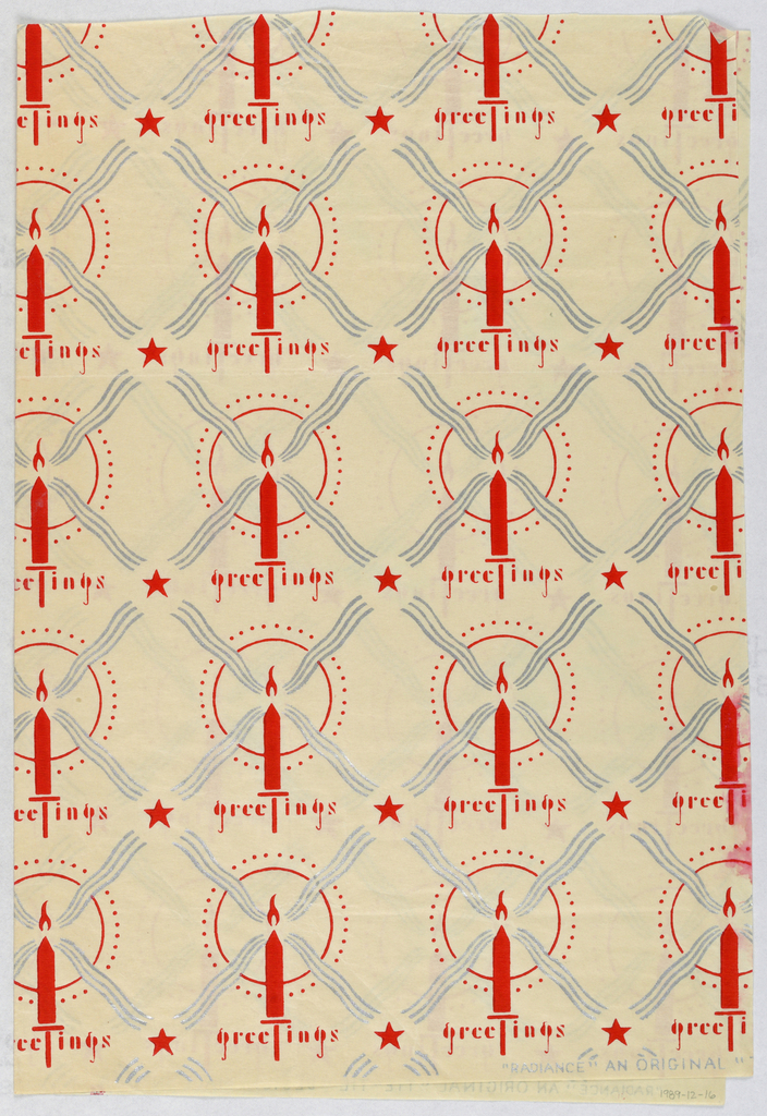 Red and silver print of a white ground showing patterns of a flaming candles surrounded by a circular halo. Large pattern of silver crosses and red stars.