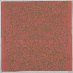 """""""Sunflower"""" pattern; a/l: printed in black on gold. Sample number stamped on verso: 134750; m/o: printed in green on red-orange. Sample number stamped on verso: 138790; p/u: printed in red on blue. Sample number stamped on verso: 138780."""