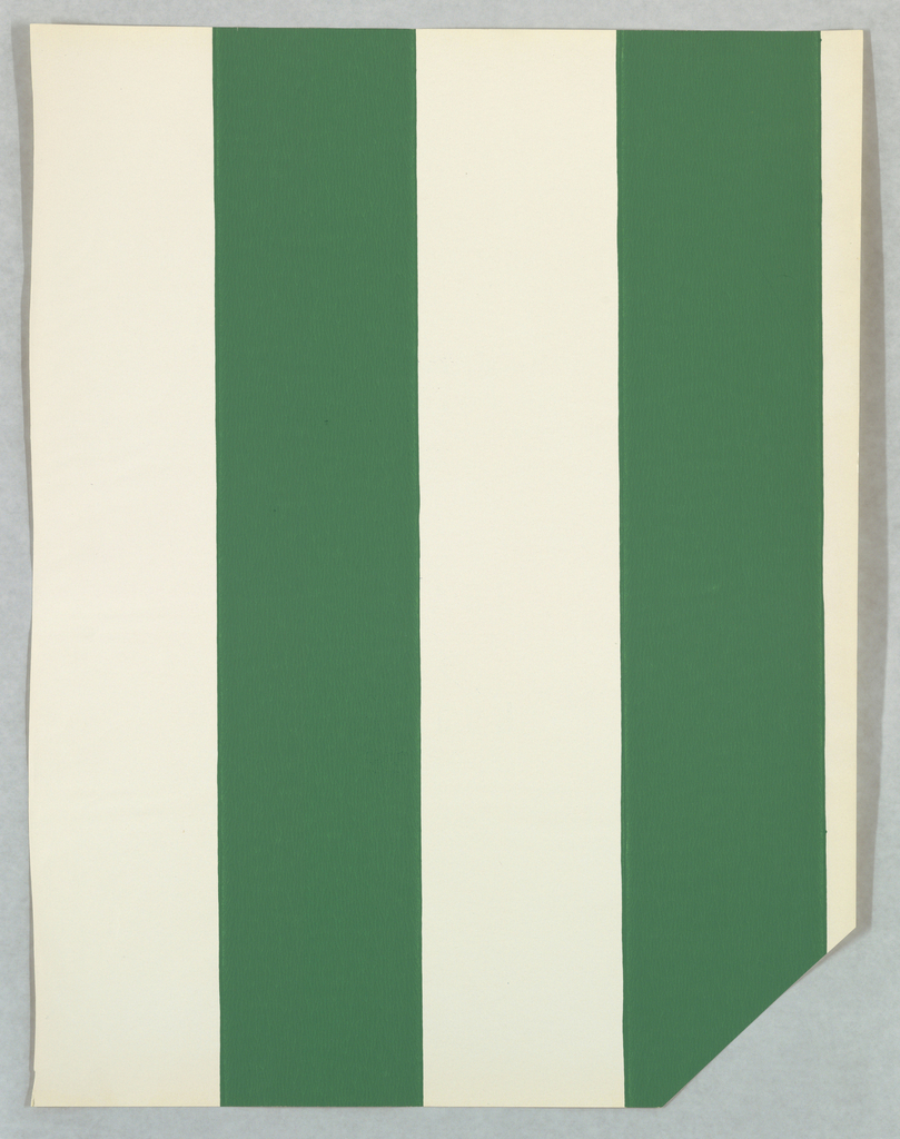 Wide alternating green and white stripes. The corner of this page has been cut off.