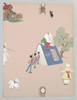 Children's or nursery paper illustrating nursery rhymes. Humpty Dumpty sits on the spine of an open book as toy soldiers emerge from the pages. Also contains the old woman's shoe, a small black mouse in front of a tall case clock. Printed in colors on mauve ground.
