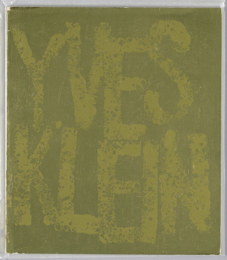 Exhibition catalogue for Yves Klein, The Jewish Museum, New York, NY. Vertical format, cover has pale green text design on uneven dark green background.  Across composition, in splotchy text, the name of the exhibition is printed.