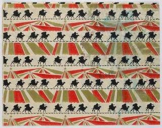 Horizontal bands of black, red and green pattern showing radiant stars of Bethlehem and the silhouette of figures on camelback.