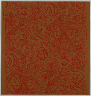 """""""Indian"""" pattern; a/e: printed in gold on white. Sample number stamped on verso: 134920; f/i: printed in greens on green. Sample number stamped on verso: 134700; j/m: printed in orange on purple. Sample number stamped on verso: 138770; n/w: printed in red on brown. Sample number stamped on verso134940; x: printed in red and tan on black. Sample number stamped on verso:134690."""