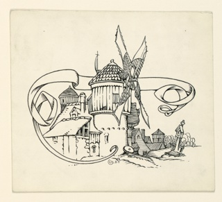A motif composed of a windmill and other buildings, and a banderole.