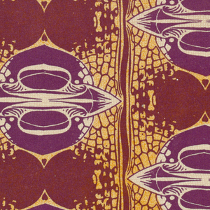 Pattern of split seed pod-like forms in purple, brown and orange. Title in sofa-like shaped text box, lower center, with geometric flowers on stems, text in purple: BEDRUCKTE / SEIDE / ZEPHYRUS. Verso: Title of portfolio in gray, upper left. Daisy flower pattern in gray on cream.