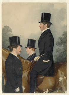 Vertical rectangle. A gentleman on horseback seen in left profile, and two standing younger men seen in right and left profile, half-length.