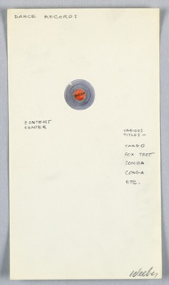 "1 drawing on paper:  music record disk (titled ""Rumba""),  with annotations for other record titles."