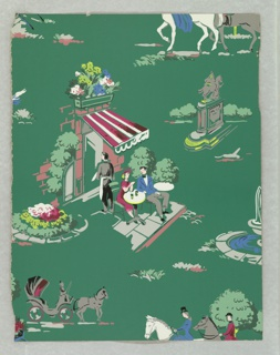 Design contains a number of different views including a couple having drinks at an outdoor cafe, sitting under a red striped awning; horse-drawn carriage; equestrian statue; and a couple riding on horse back. Printed in colors on a green ground.