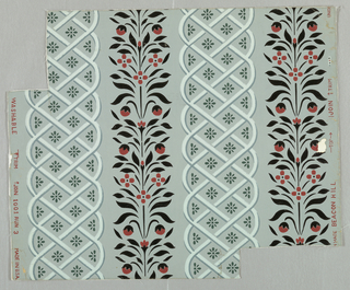 """Vertical stylized foliate and floral elements in black and terra cotta alternate with vertical, white interlace patterns enclosing green rosettes, on a gray ground. On margin: """"Made in U.S.A., 1001 Run 3, 'Beacon Hill'""""."""